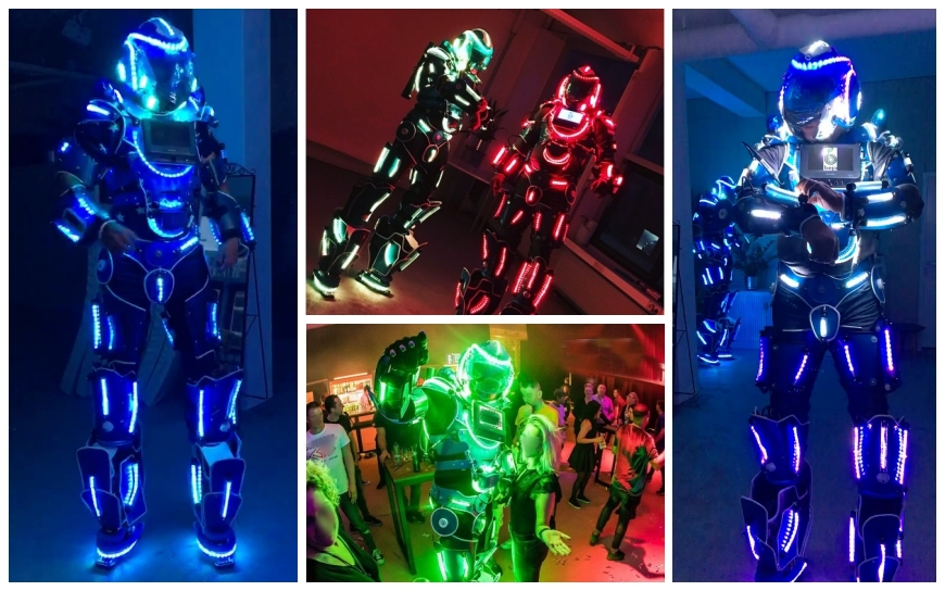 Blauw Witte LED Robots - (Steltenlopers)