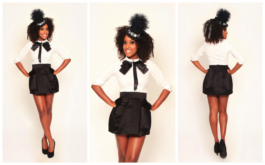 Hostess - White-Black Balloon Skirt - (Modellen H05)